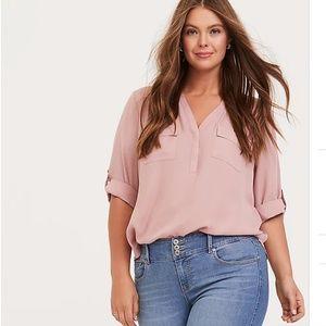 Torrid Harper- Dusty pink georgette blouse